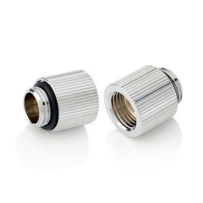 """Bitspower Touchaqua Adapter Fitting 15mm G1/4"""" AG On G1/4"""" IG - 2x Pack, Silver - 1"""