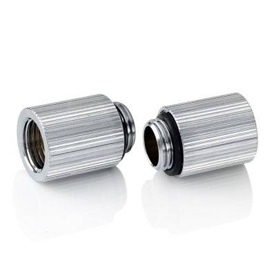 """Bitspower Touchaqua Adapter Fitting 20mm G1/4"""" AG On G1/4"""" IG - 2x Pack, Silver - 1"""