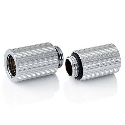 """Bitspower Touchaqua Adapter Fitting 25mm G1/4"""" AG On G1/4"""" IG - 2x Pack, Silver - 1"""