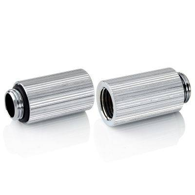 """Bitspower Touchaqua Adapter Fitting 30mm G1/4"""" AG On G1/4"""" IG - 2x Pack, Silver - 1"""