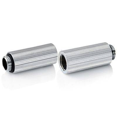 """Bitspower Touchaqua Adapter Fitting 40mm G1/4"""" AG On G1/4"""" IG - 2x Pack, Silver - 1"""