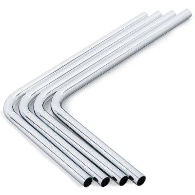 Bitspower Messing Hardtube 14mm AD, 220x300mm, 90° - 4x Pack, Silver - 1