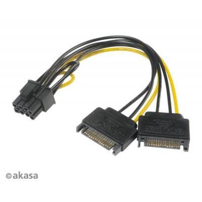 Akasa 2x 15-Pin SATA On 1x 6+2-Pin PCIe Adapter - 1