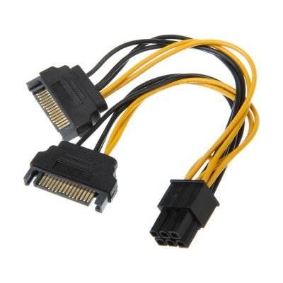 Akasa 2x 15-Pin SATA On 1x 6-Pin PCIe Adapter - 1