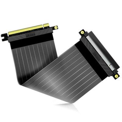 Akasa Riser Black X2, Premium PCIe 3.0 x16 Riser Cable, 20cm - Black - 1