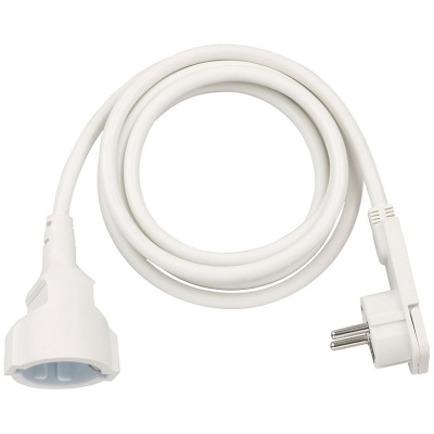 Brennenstuhl Extension Cable With Angled Flat Plug, White - 3m - 1