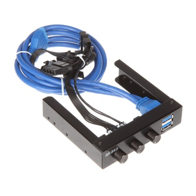 "Akasa 3,5"" FC06 V2 Fan Control With 2x USB 3.0 Ports - 1"